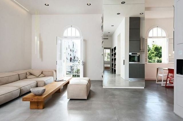 Beton Boden Wohnzimmer Esszimmer gestalten einrichten Living - marmorboden wohnzimmer