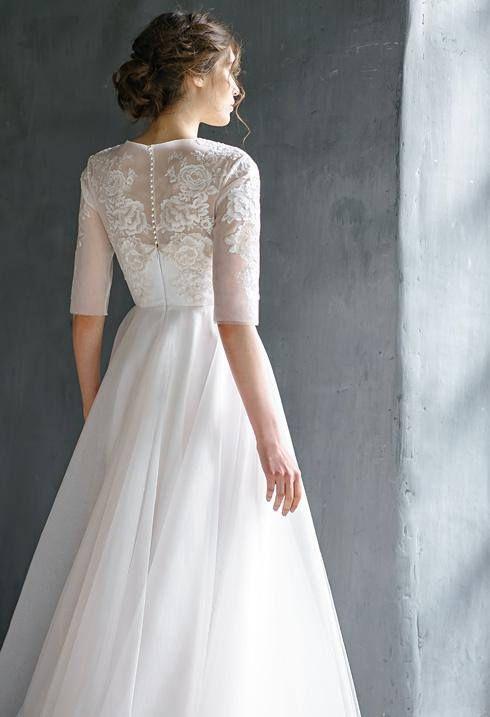 RAUZA / long sleeve lace wedding dress Bohemian bridal gown