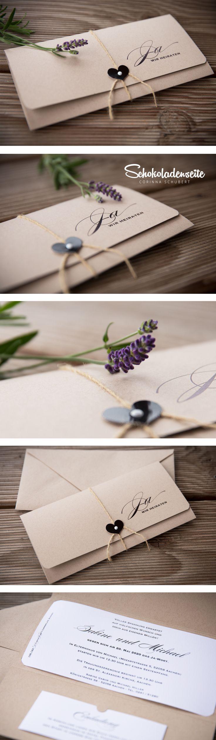 Hallo ihr Lieben, hier habe ich eine unserer bezaubernden Kraftkartonkarten für euch <3 Sie ist mit einem raffinierten Verschluss ausgestattet und wird von einem rustikalen Band sicher verschlossen. Die stilsichere Schriftgestaltung lässt später viel Platz für alle Richtungen der Deko und Farbwünsche des Brautpaares. <3 #schokoladenseitekarten #love #kraftkarton #invitations #wedding #weddinginvitations #einladung #hochzeitseinladung #beautiful #lavendel