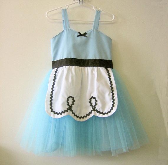 ALICE IN WONDERLAND dress retro Apron dress for girls fun Disney inspired tutu dress for tea party handmade costume