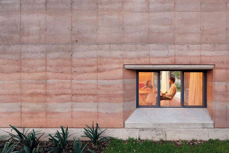 rammed earth: Ajijic House by Tatiana Bilbao S.C. (Ajijic, Mexico)