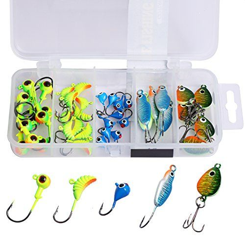 Goture Lead Ice Fishing Jig Kit With Carbon Steel Hooks in Tackle Box, 5 Types, Pack of 40  https://fishingrodsreelsandgear.com/product/goture-lead-ice-fishing-jig-kit-with-carbon-steel-hooks-in-tackle-box-5-types-pack-of-40/  ⛄ SUPERIOR QUALITY: the material of sturdy jig head is made of lead and abrasion resistant hook is made of black nickel plated carbon steel ⛄ VERSATILE: multiple shapes include jig head, grub, drop-shaped jig and spoon are designed for different spe
