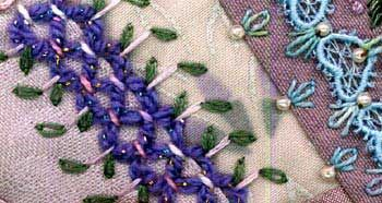 illustration of running stitch stepped and threaded used in crazy quilting