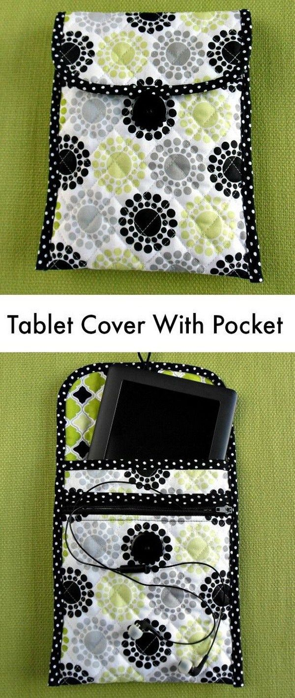 Quilted Tablet Cover with Pocket. A custom quilted tablet cover with pocket for your earbuds or charger. Nice sewing pattern idea!