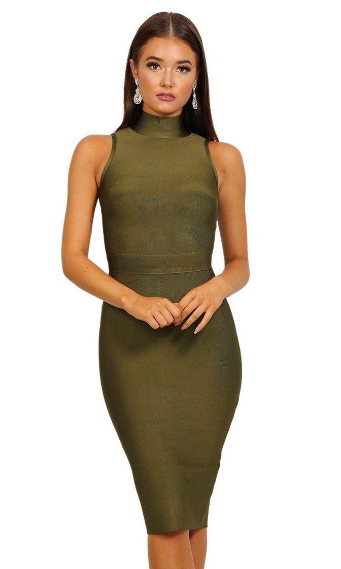 5a2a86cdf9d Kimmy Olive Green Turtleneck Sleeveless Midi Knee Length Bodycon ...