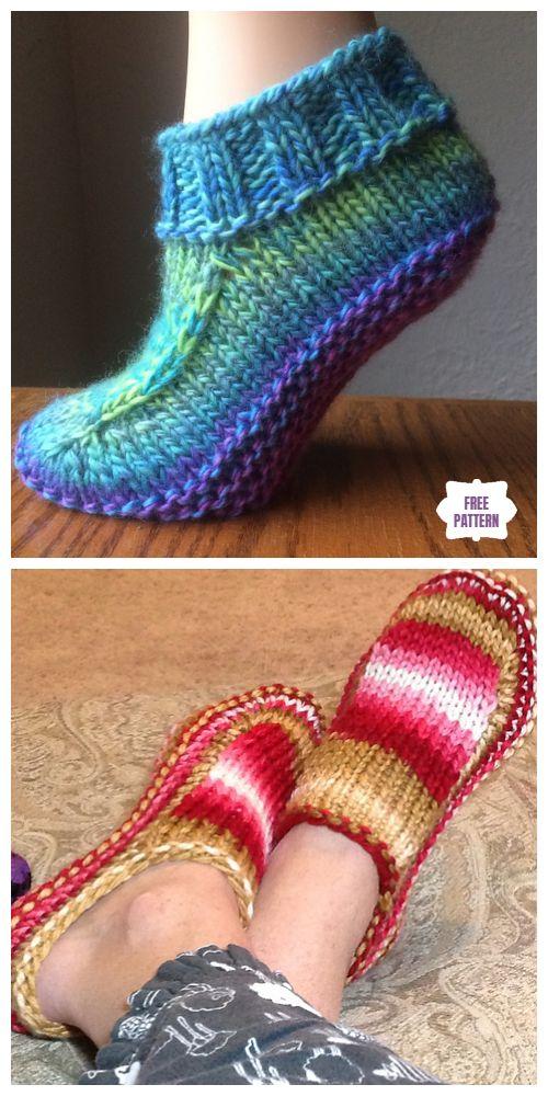 Knit Mulheres Non-Felted Chinelos Padrão De Tricô Livre