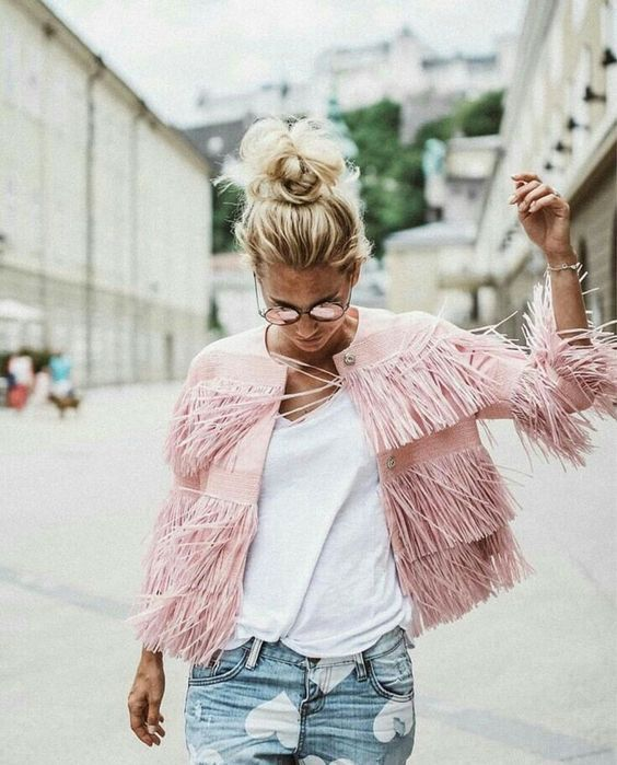 This blush jacket with fringe is so cute! We love the movement it has, this is giving us major ootd inspo!