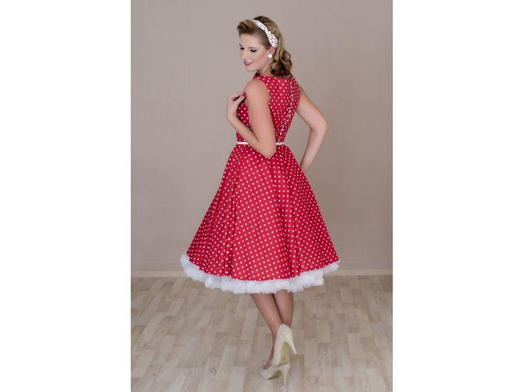 SUSAN červené retro šaty s bílým puntíkem. lodičkový výstřih knoflíčky na zadní straně kolová sukně pásek s ozdobnou sponou délka sukně 60 cm, zip na boku skladem velikost 40
