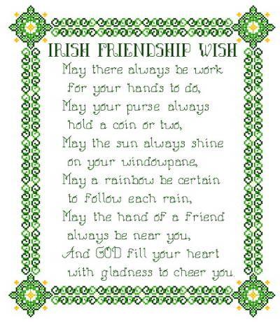 Celtic Cross Patterns Free | Irish Friendship Wish Cross Stitch Pattern samplers
