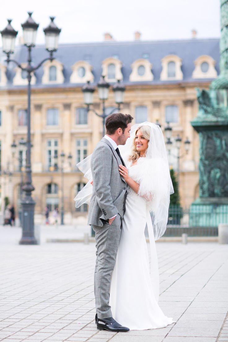 Grey tweed suit.. Photography: Le Secret DAudrey - lesecretdaudrey.com Photography: One And Only Paris Photography - oneandonlyparisphotography.com  Read More: http://www.stylemepretty.com/destination-weddings/2014/05/20/intimate-winter-wedding-in-paris/