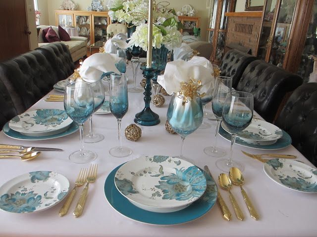 """Teal tablescape using 222 Fifth's """"Eliza"""" dinnerware"""
