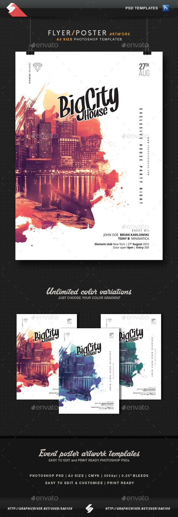 Big City House  Party Flyer Template A3 #art #chill house  • Download here →...