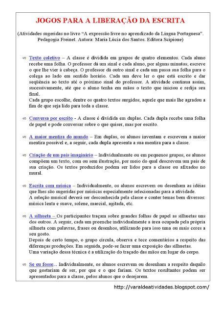VARAL DE ATIVIDADES: Produção de texto