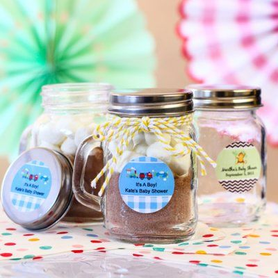 Personalized Baby Mason Jars with Handle hot cocoa and marshmallows