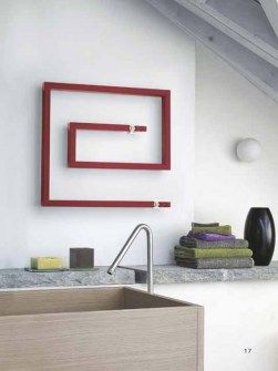 coloured towel warmers, towel radiator, heated towel rails, snail shape radiators
