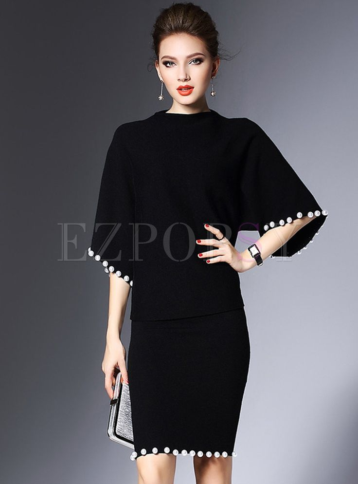 Two-piece Outfits | Two-piece Outfits | Black Bat Sleeve Nail Bead Skirt Suits