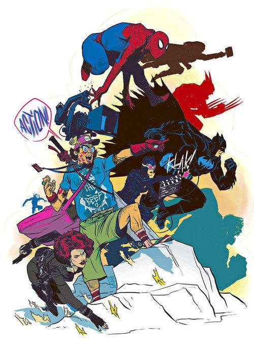 Great illustration by Nathan Fox.  (for 'The Amazing Spider-Man' and the Modern Comic Book Movie - NYTimes.com)
