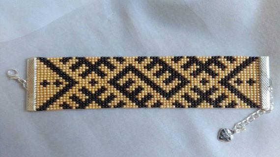 Loom beaded bracelet by hardycandyliga on Etsy