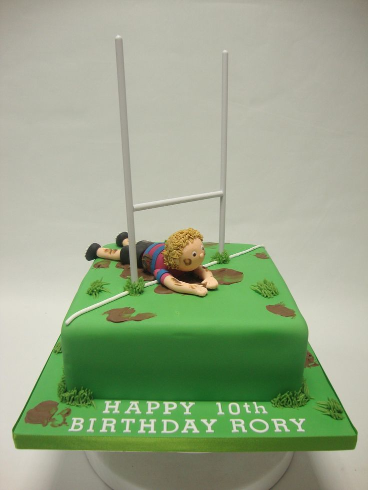 """Rugby Pitch Cake Small I like this idea, but to have child as """"noah"""" a little more personalised..."""