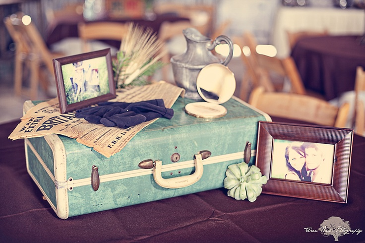 This whole wedding is so beautiful. Great photography, too.: Vintage Suitcases, Inspiration, Vintage Weddings, Decoration, Wedding Decor, Wedding Ideas, Travel, Guest Book