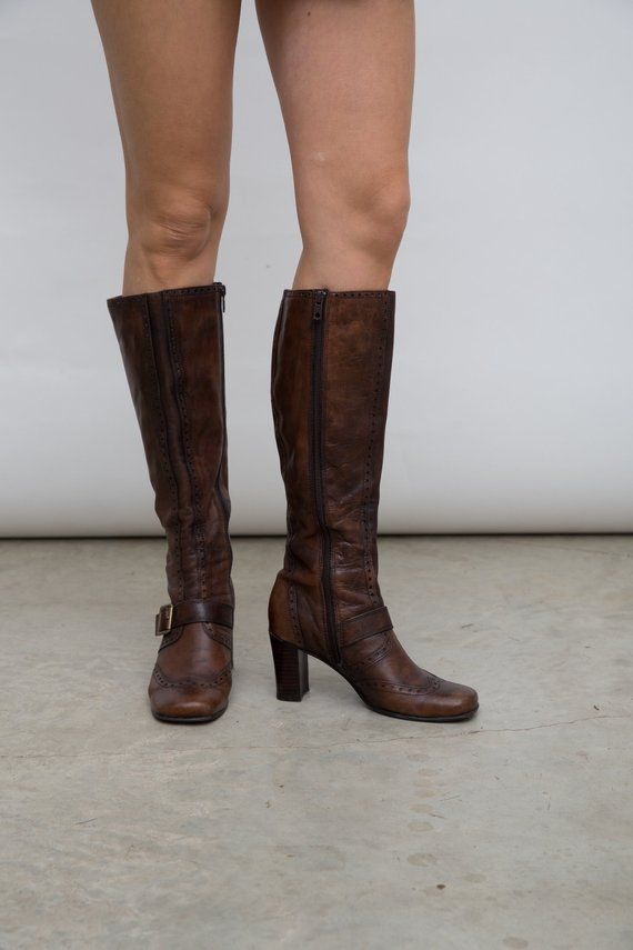 Vintage Brown Boots German Leather Boots Size 36 Shoes Brown Heeled Boots 90s Leather Shoes Autumn Tall Boots Brown Vintage Boots Brown Heeled Boots Boots
