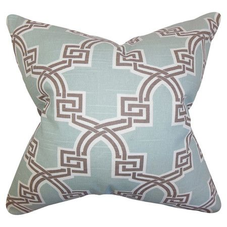 Crafted from a blend of cotton and linen, this cushion features a bold geometric design in grey, white and blue.   Product: