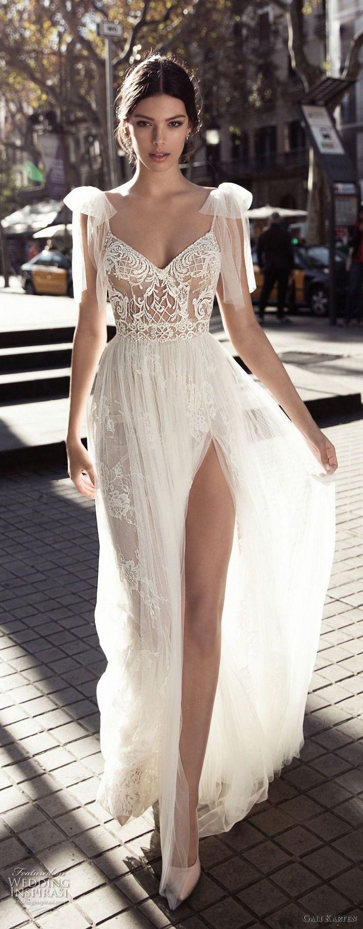 gali karten 2017 bridal cap sleeves thin strap sweetheart neckline heavily embellished bodice side slit tulle skirt romantic a line weddind dress open v back sweep train (5) mv