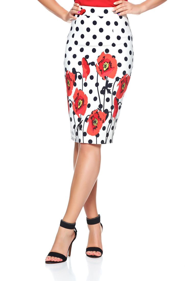 PrettyGirl Sweet On Red Skirt, floral prints, back zipper fastening, form-fitting, flexible thin fabric/cloth, slightly elastic fabric, women`s skirt