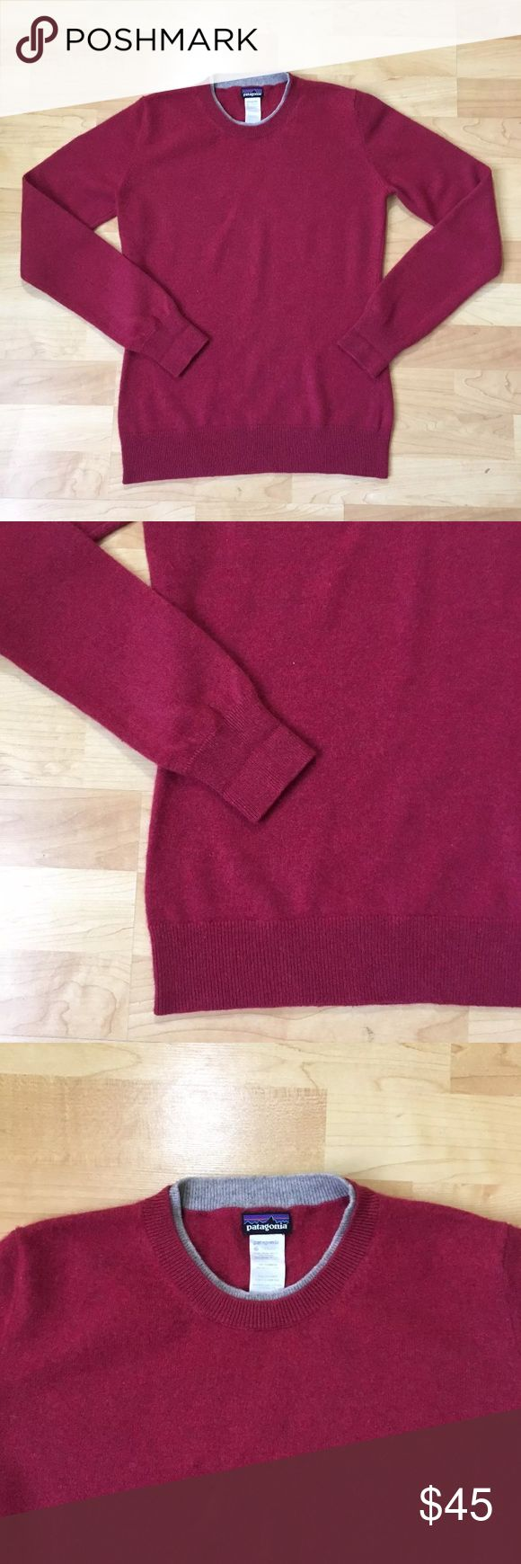 "Patagonia cashmere sweater size medium Patagonia Cashmere sweater Red maroon burgundy color Size medium Measures: Pit to pit: 18""  Length: 24"" Sleeve: 24.5""   DISCLAIMER:: Color may vary slightly depending on computer screen and fluorescent lighting. Photos were taken in natural light under shaded condition. Comes from smoke free/ pet free home. Please review my feedback and feel free to ask any questions.  Descriptions are written as honest possible and photos assist the full description…"