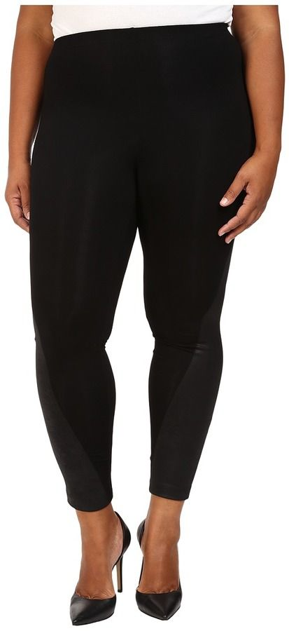 Karen Kane Plus Plus Size Faux Leather Panel Leggings ** You can get additional details at the image link.
