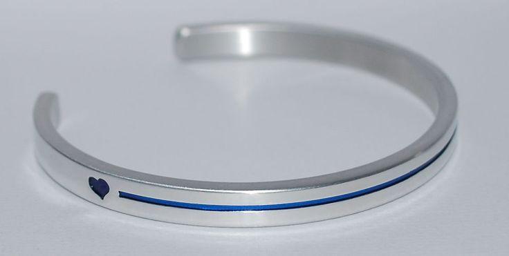 Thin Blue Line with Blue Hearts    |:| Handmade & Polished Bracelet #SayItandWearIt #Cuff