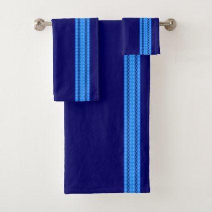 Cornflower & Duke Blue Diamond Striped Pattern Bath Towel Set - trendy gifts cool gift ideas customize