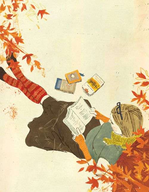 """""""Delicious autumn! My very soul is wedded to it, and if I were a bird I would fly about the earth seeking the successive autumns."""" ― George Eliot.  Illustration by Penelope Dullaghan."""