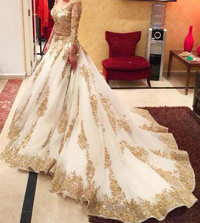 Majestic golden and cream bridal lehenga..