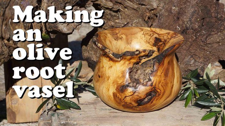 Ξυλοτορνος κατασκευη βαζου απο ριζα ελιας / Woodturning an olive root vase