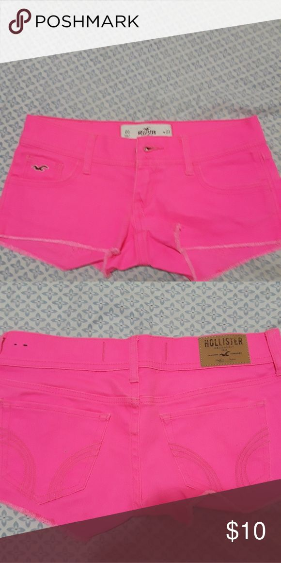 Super cute Hollister hot pink shorts ! Hollister hot pink shorts. Perfect for the summer. NEVER WORN BRAND NEW WITHOUT TAGS ! Hollister Shorts Jean Shorts