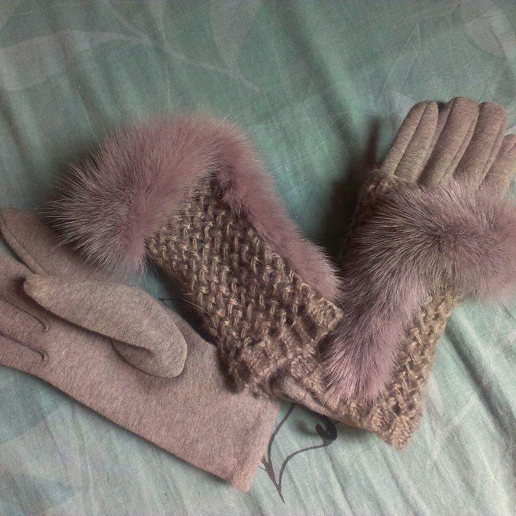 Митенки и перчатки с мехом норки