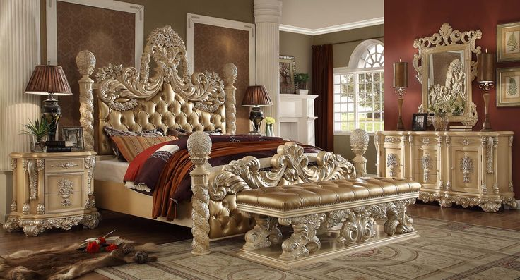 5 pc Queen Victoria renaissance style antique silver queen bedroom set with tufted padded carved headboard and footboard.KING Bed, 2 nightstand, mirror, dresse