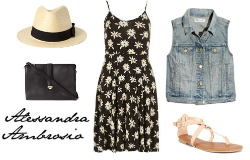 Outfit Inspired by Alessandra  Alessandra: Dress, Vest, Hat, Bag, Sandals