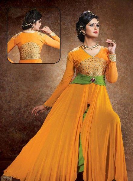 Abaya Style Orange Anarkali Suit In Georgette . Shop at - http://www.gravity-fashion.com/abaya-style-orange-anarkali-suit-in-georgette-gf8140295.html