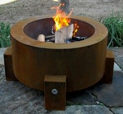 Cor-Ten Steel Fire Pits | Bentintoshape.net  These are already set up for propane and are a pretty decent price.  We just installed the square version at a project in RSF and it looks great!
