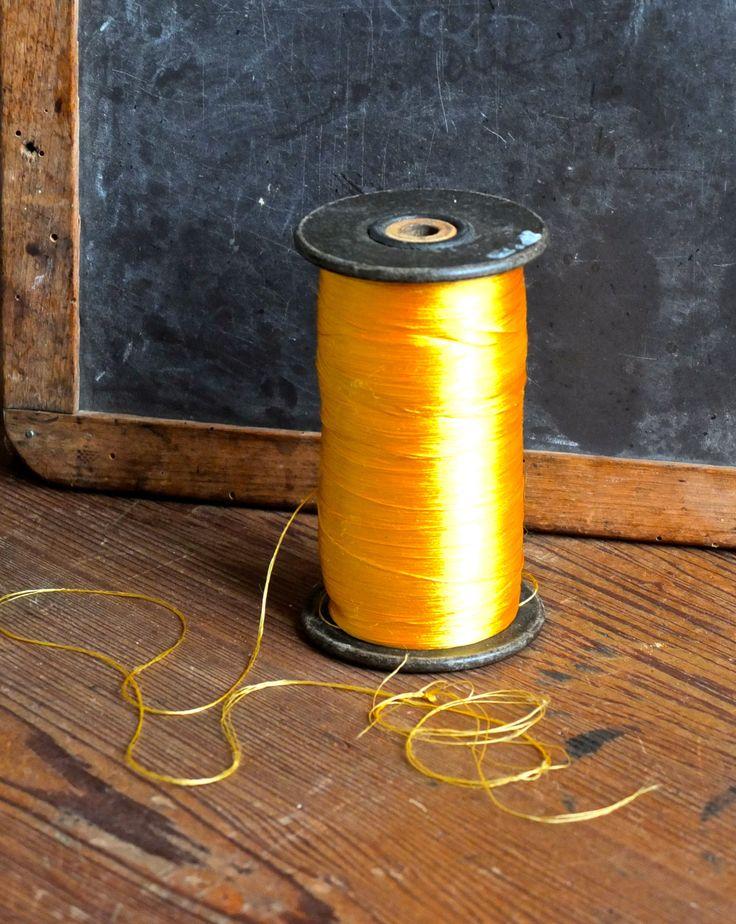 Golden silk thread / vintage large industrial spool / antique passementerie / repurposed art sculpture by 1001Artforms on Etsy