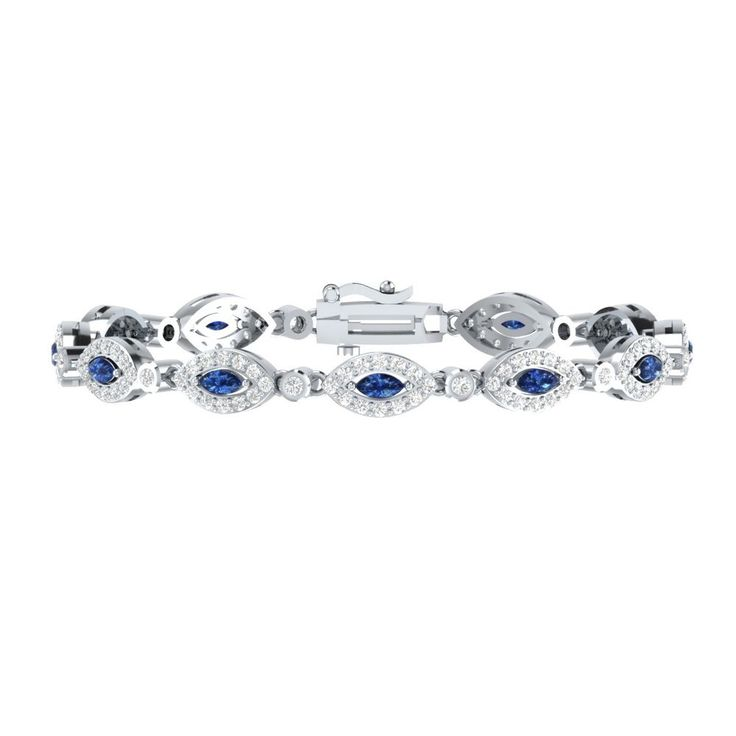 "New 4.10 Ct Blue W/ White Sapphire Sterling Silver Womens Tennis Bracelet 7"" #braceletrealgold #Tennis"