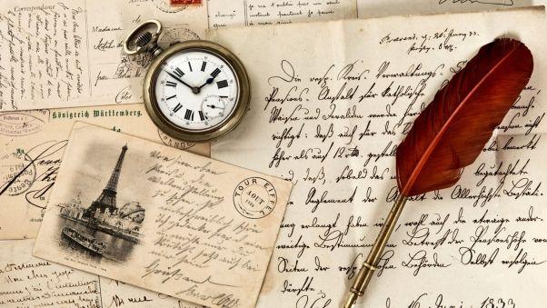 Обои винтаж, старая бумага, перо, часы, письма, марка, открытка