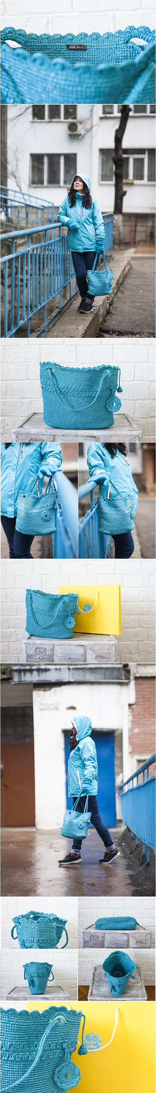 Plarn Tote Bag, Eco friendly Upcycled, Plastic Yarn Tote Bag, Blue, OOAK Bag, Handbag Plarn Tote Bag, Crochet Tote,Recycle Plarn Tote