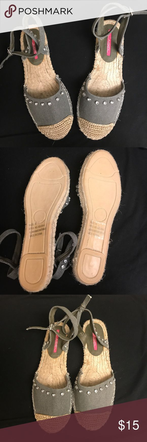 Grey espadrille Cute espadrille sandals with silver rhinestones in the straps and in front. Number 8 Shoes Espadrilles