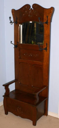 image of antique solid oak hall tree