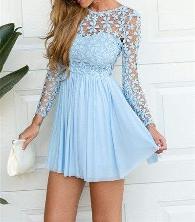 Charming Prom Dress,Long Sleeve Prom Dress,Chiffon Prom Dress,Short