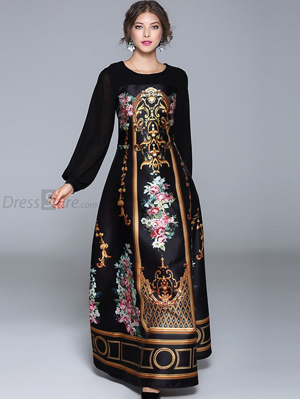 12c2f19e396a3 Buy Vintage O-Neck Long Sleeve Floral Print Maxi Dress at DressSure.com  Color:Black; Size:S, M, L, XL, 2XL; Material:Assorted, Lanon; Style:Party;  ...