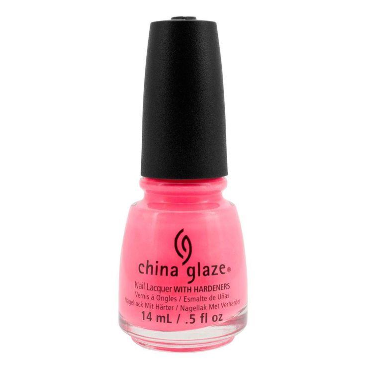 China Glaze Lacquer Neon Nail Polish Pink Hang-ten Toes 1084